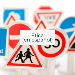 Different traffic signs and a sign about etica
