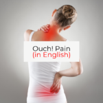 Back view of a woman who has red areas representing pain on her neck and lower back